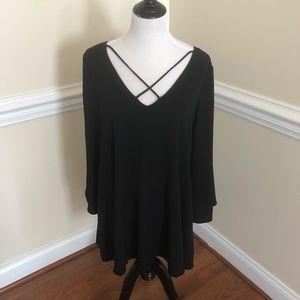 Abbeline black x-front dress